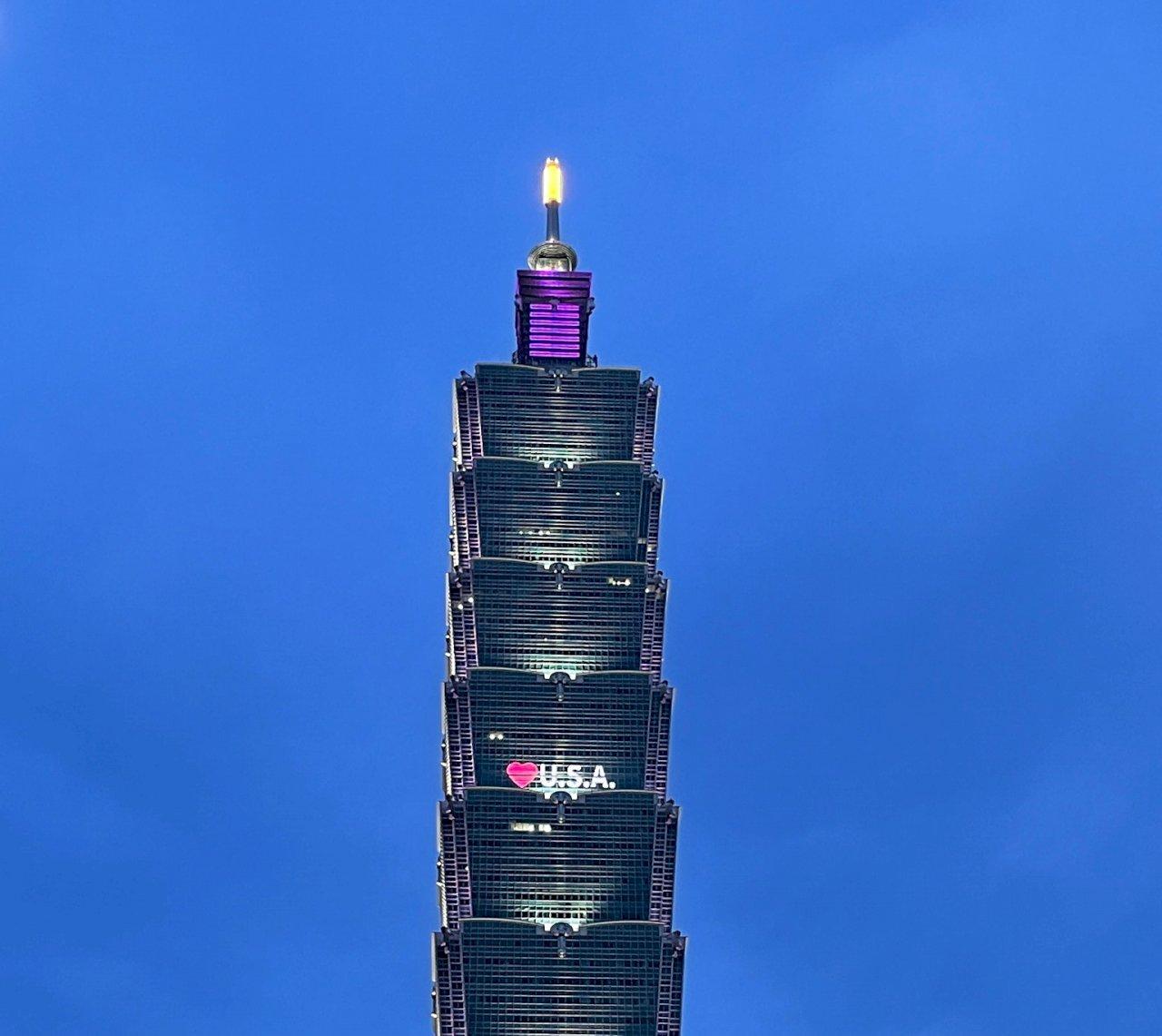 美贈台疫苗 台北101點燈珍惜台美友誼