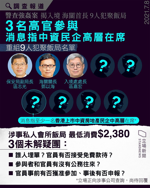 疑點重重 :港府高官與中國民企「恒大集團」代表飯局