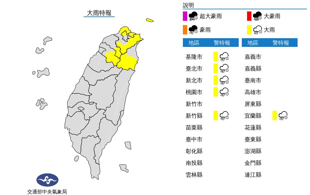 颱風外圍雲系影響 北北基等6縣市大雨特報