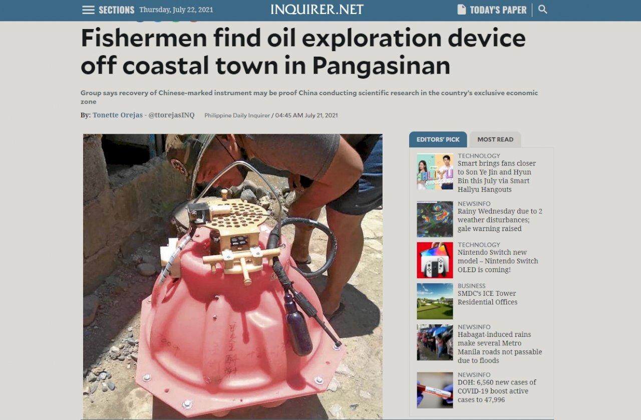 菲漁民南海尋獲海底地震儀 疑中國用於探勘石油