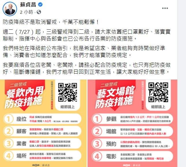 蘇貞昌:防疫降級非取消警戒 千萬不能鬆懈