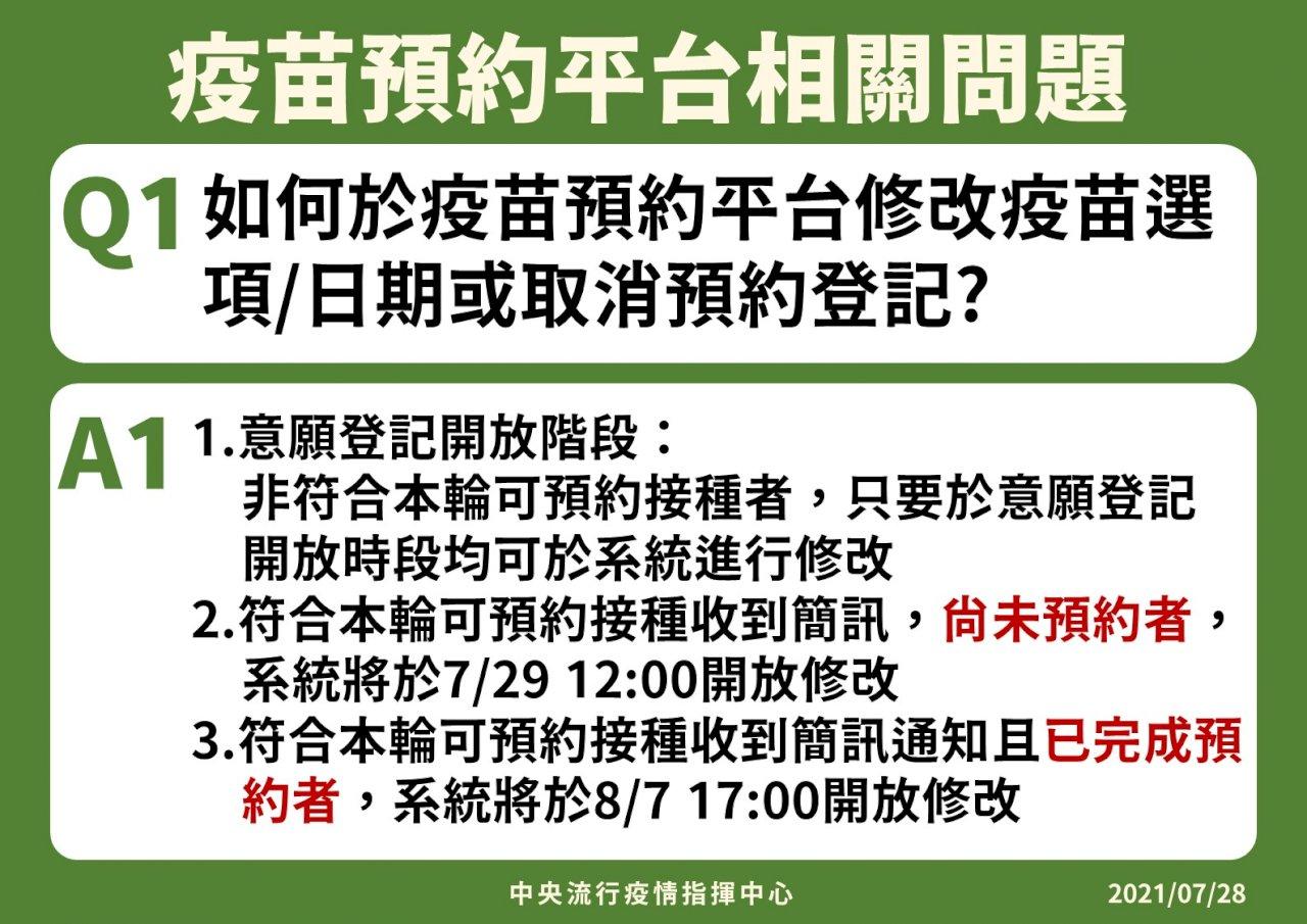 想修改施打疫苗選項 請明天午後或8月7日傍晚登錄預約平台
