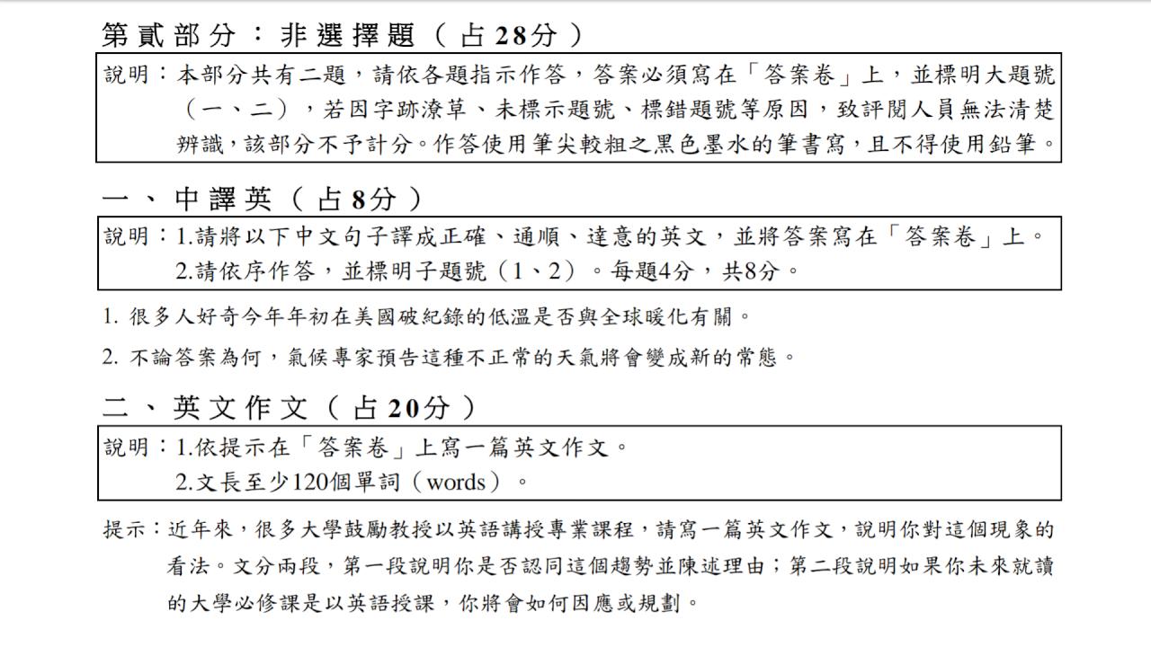 雙語授課趨勢入考題 指考英文作文問考生看法