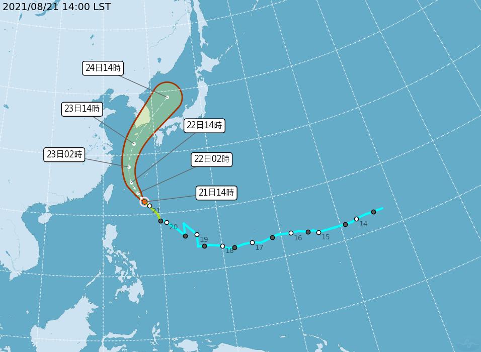 輕颱奧麥斯外圍雲系影響 22日東半部注意陣雨