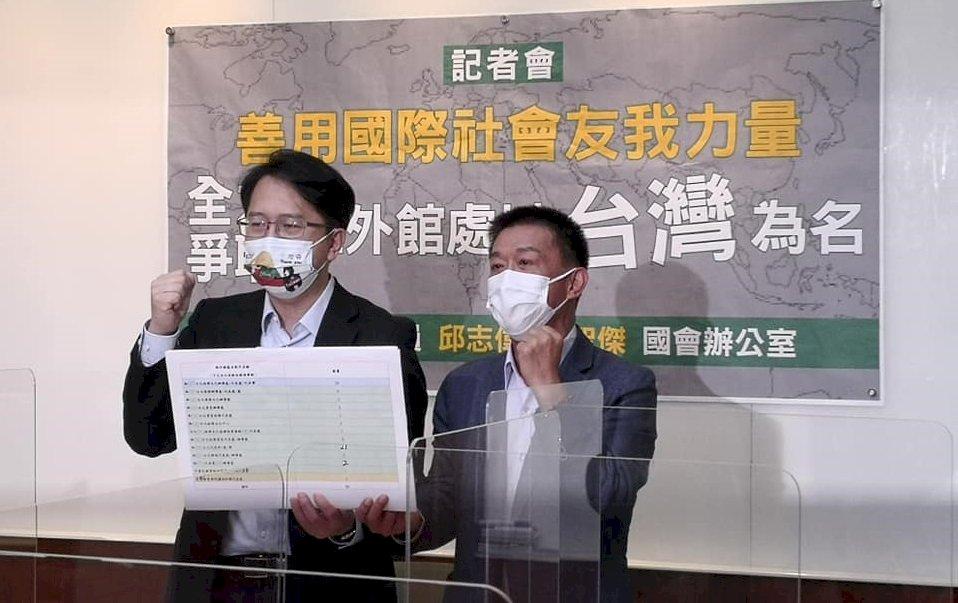 綠委籲成立駐外館處更名工作小組 爭取駐外機構以台灣為名