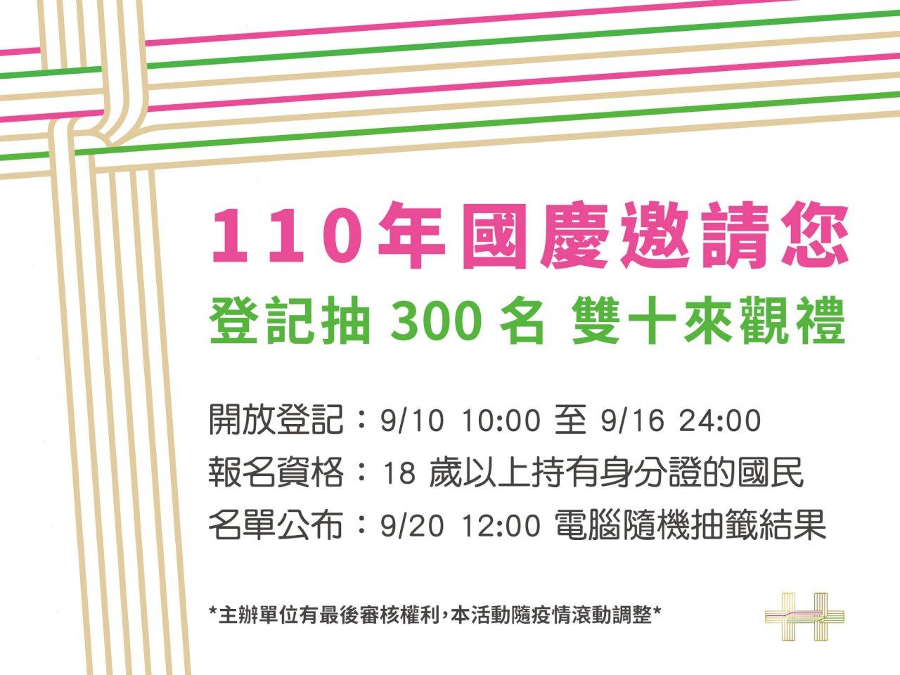 國慶大會邀民眾觀禮限300人 即起開放報名