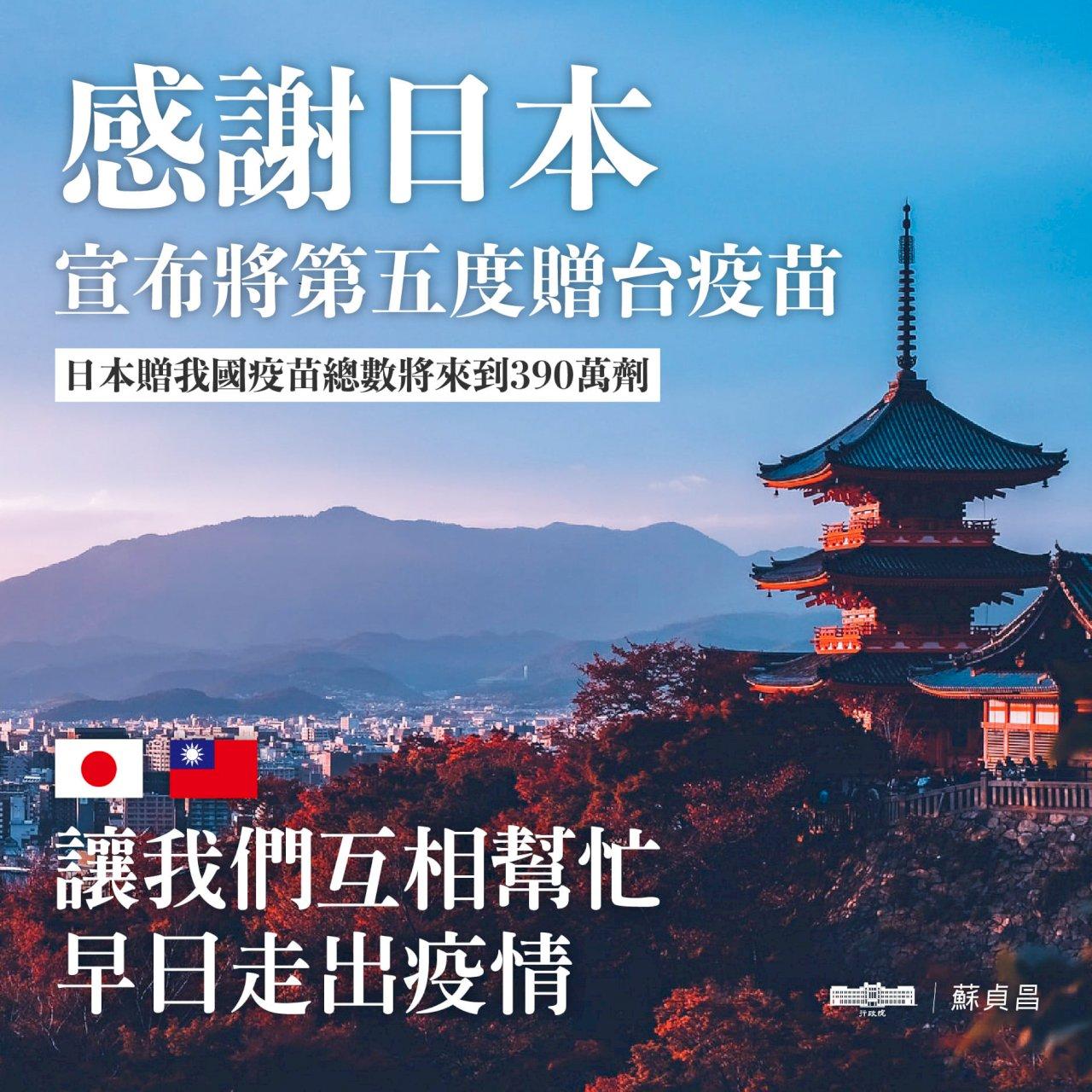 日本再贈台50萬疫苗 蘇揆誠摯感謝