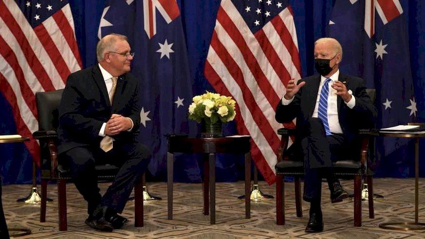 潛艦風波後首度會談 美澳領袖致力維護印太自由