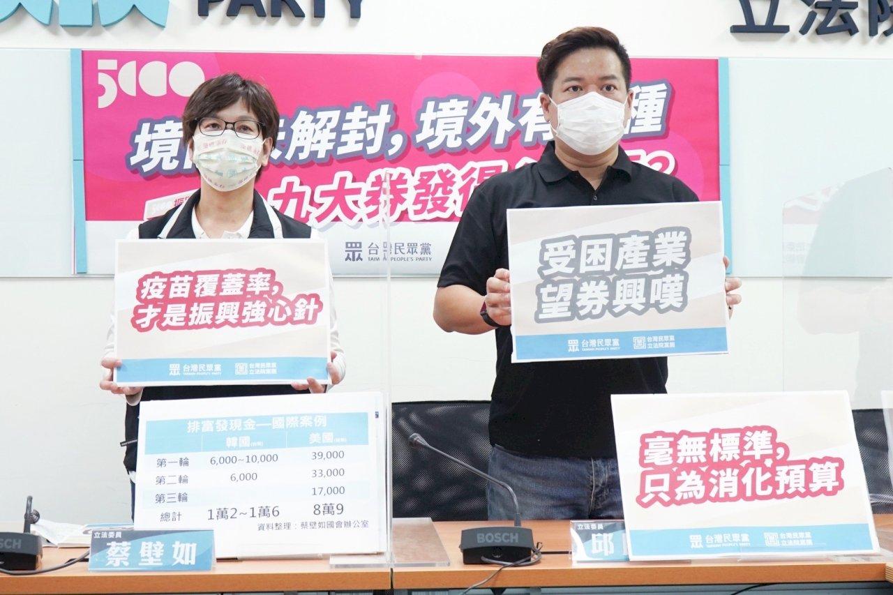 批加碼券「抽獎」方式欠妥 民眾黨團呼籲振興靠疫苗