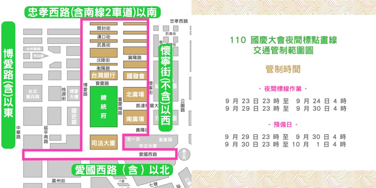 國慶活動倒數 9/23起分階段交管