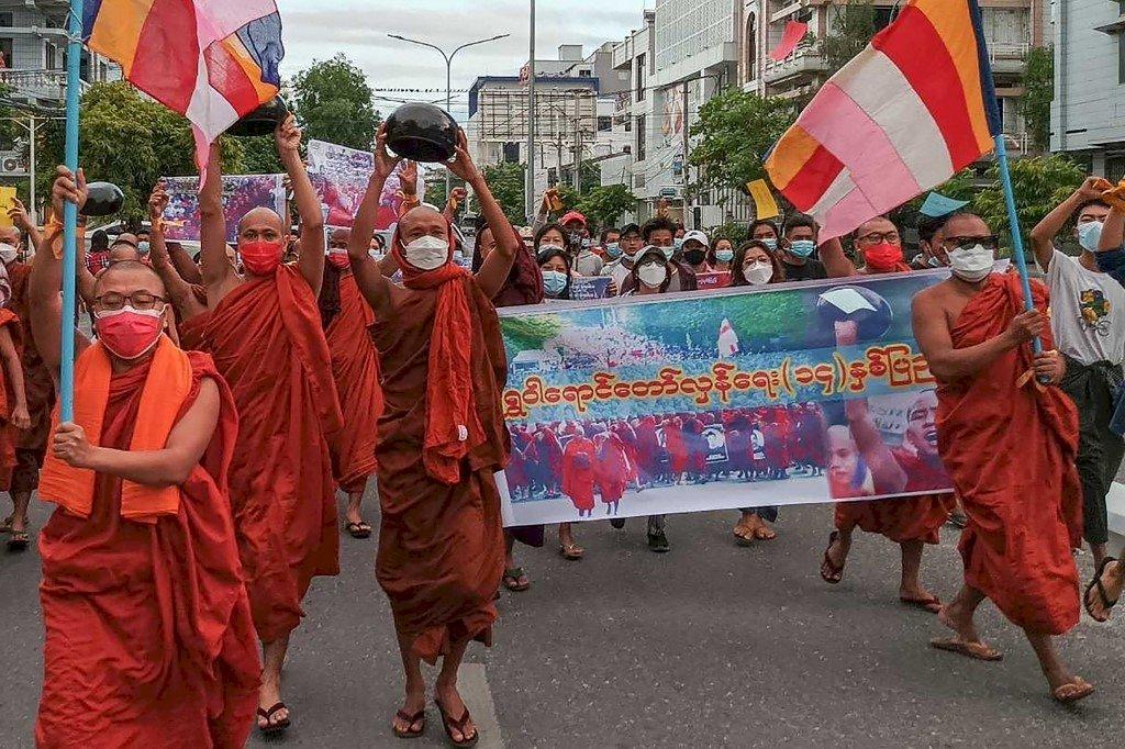 紀念「番紅花革命」 緬甸瓦城爆發僧侶示威